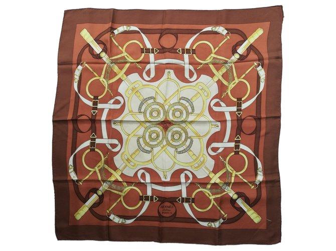 "Hermès CARRE HERMES 100% Silk - Brown scarf ""Spur of Gold"" Silk scarves Silk Brown,White,Beige,Golden,Orange,Eggshell,Light brown,Dark brown,Copper ref.129031"