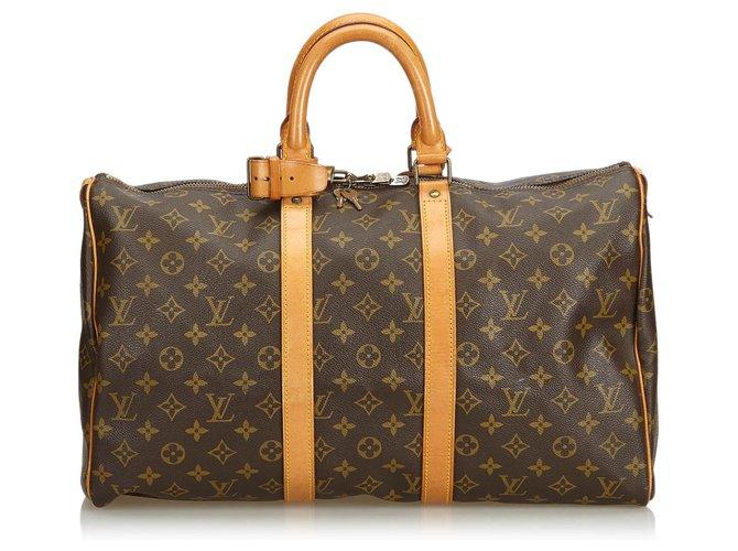 Sacs de voyage Louis Vuitton Louis Vuitton Keepall Monogram Brown 45 Cuir,Toile Marron ref.129075