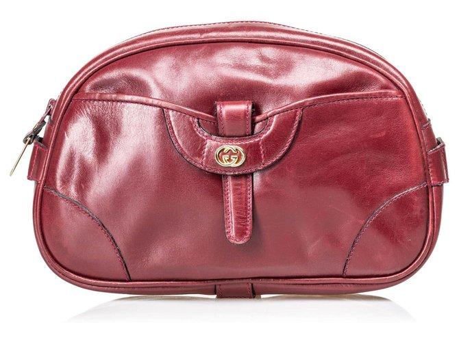 Pochettes Gucci Pochette en cuir vintage rouge Gucci Cuir,Autre Rouge,Bordeaux ref.129119