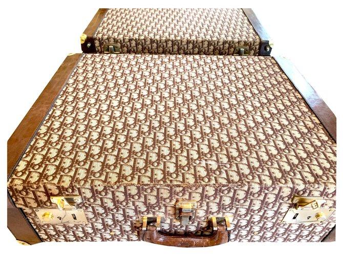Christian Dior DIOR Travel bag Cloth Dark brown ref.129134