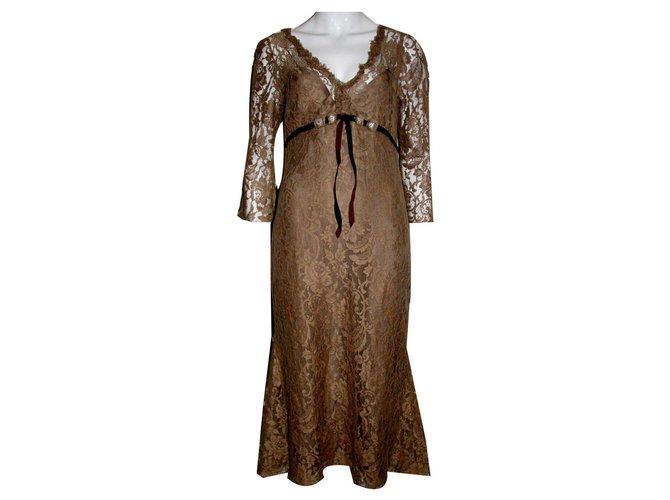 Vera Wang Lace Dress Dresses Silkcottonlacenylon Cognac