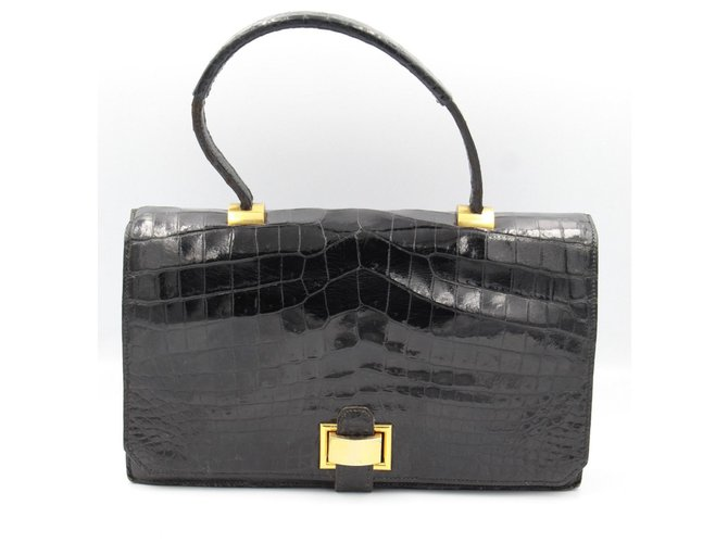 Hermès Handbags Handbags Exotic leather Black ref.129242