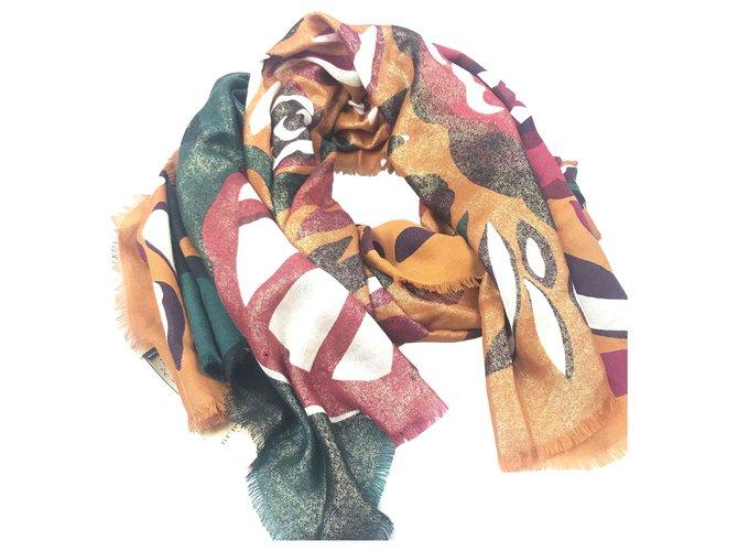 Burberry Burberry MultI Printed Wool Scarf Silk scarves Wool,Cloth Multiple colors ref.129342