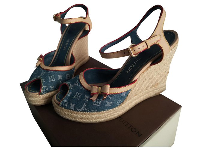 Louis Vuitton Sandals Sandals Leather,Denim Blue ref.129480