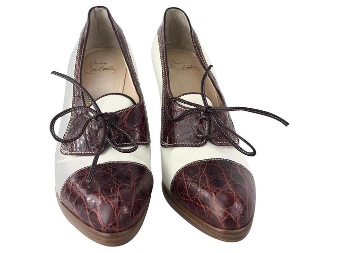 lowest price 8998b 03ac3 Christian Louboutin High Heel Lace Up Two Tone Brogues, Brown & White, eu 41