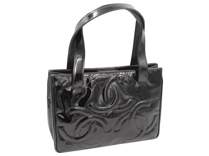 07af08e578fc67 Chanel Handbags Handbags Patent leather Black ref.129715 - Joli Closet