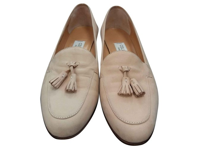 Céline Flats Ballet flats Leather Beige ref.129737