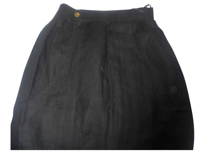 Chanel Chanel lux linen skirt with button jewelry bag hand Skirts Linen Black ref.129763