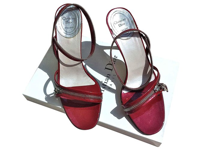 Sandales Dior Sandales Dior cuir vernis rouge scintillant Cuir vernis Rouge ref.129818