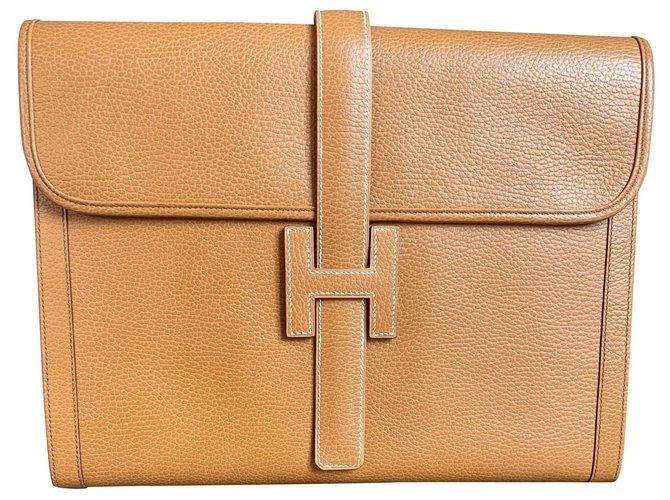 Hermès Jige GM Clutch bags Leather Beige,Caramel ref.129878