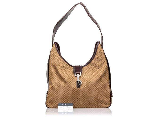 e224d6d31 Gucci Gucci Brown Micro GG Nylon Shoulder Bag Handbags Leather,Other ,Nylon,Cloth