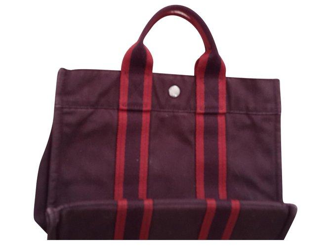 Hermès Tote Handbags Cotton Dark red ref.130108
