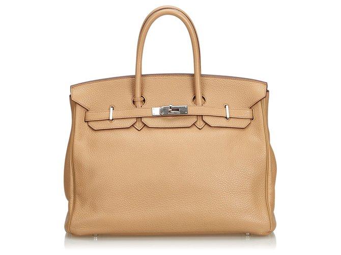 Hermès Hermes Brown Clemence Birkin 35 Handbags Leather,Pony-style calfskin Brown,Light brown,Dark brown ref.130185