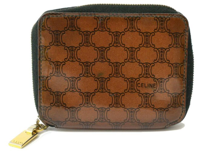 Céline Céline Macadam Wallet Purses, wallets, cases Patent leather Brown ref.130261