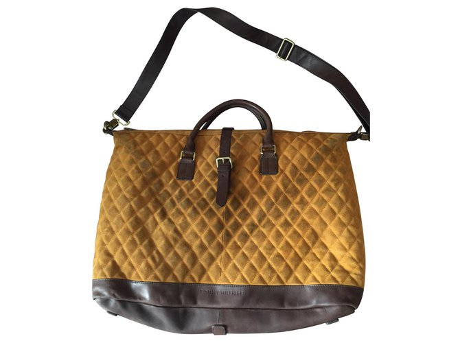 Tommy Hilfiger weekend bag Bags Briefcases Suede Yellow ref.130313