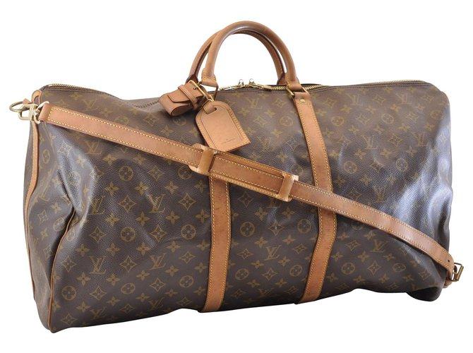 Sacs de voyage Louis Vuitton Louis Vuitton Keepall Bandouliere 60 Toile Marron ref.130339