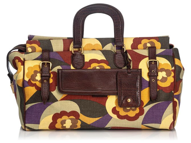 5efbafb1e4f Yves Saint Laurent YSL Multi Printed Canvas Travel Bag Travel bag  Leather,Other,Cloth