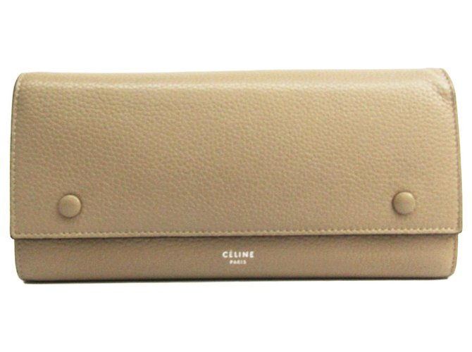 Céline Celine Brown Leather Large Flap Multifunction Bi-fold Wallet Purses, wallets, cases Leather,Pony-style calfskin Brown,Red,Beige ref.130439