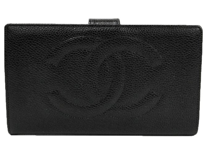 Chanel Chanel Black Caviar Timeless French Wallet Misc Leather Black ref.130449