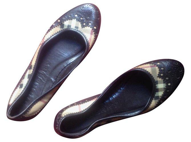 Burberry Burberry Ballerina Ballet flats Leather Dark brown ref.130505