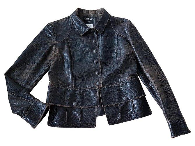 Chanel Jackets Jackets Cotton,Polyurethane Dark brown ref.130552