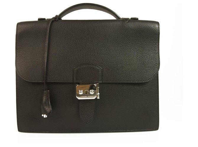 Hermès Hermes Sac a Depeches 27 Black Togo Leather Briefcase Handbag Palladium Hardware Bags Briefcases Leather Black ref.130684