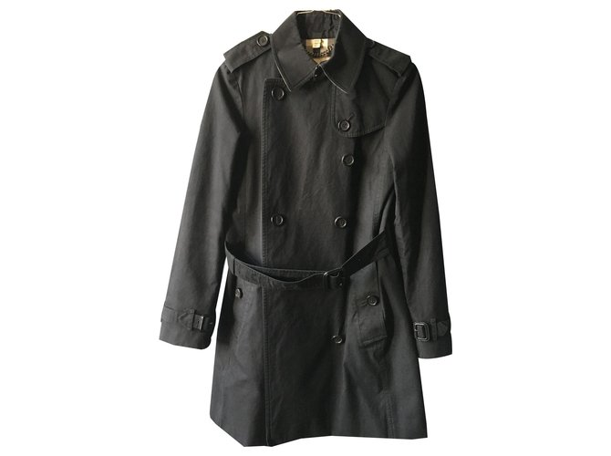 Burberry Burberry black trench coat Trench coats Cotton,Viscose Black,Beige ref.130753