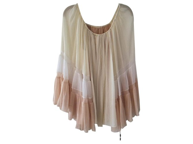 Chloé Boho shirt Chloé ecru white and pink Tops Silk Cream ref.130760