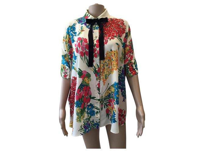 Tops Gucci chemise en soie à fleurs Soie Moutarde ref.130803
