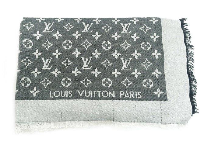 Carrés Louis Vuitton Écharpe Louis Vuitton Shine Soie Gris ref.130852
