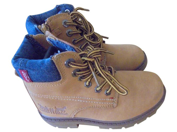 Levi's BOTTINES LEVI'S KID Boots Leather,Denim Blue,Light brown ref.130937