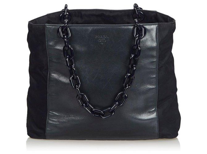 aa64d345179 Prada Black Leather Chain Tote Bag