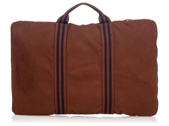 Hermès Hermes Brown Fourre Tout Briefcase Travel bag Cloth,Cloth Brown,Blue,Navy blue ref.131151