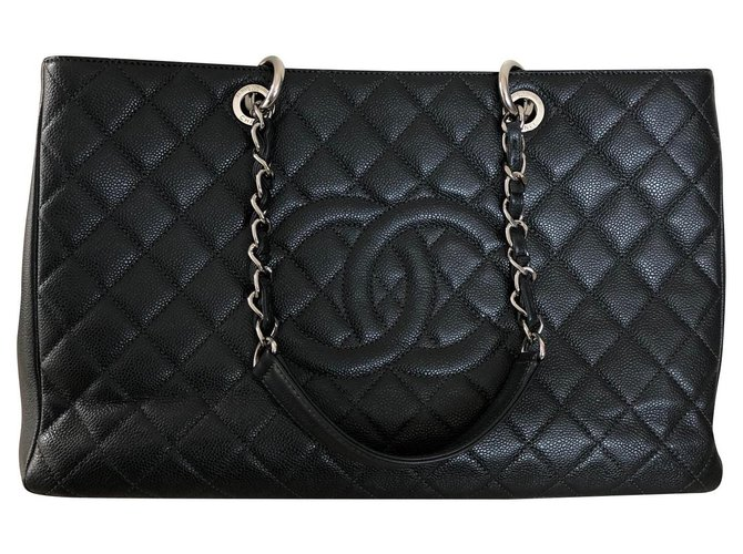 Sacs à main Chanel Grand shopping Cuir Gris,Gris anthracite ref.131285