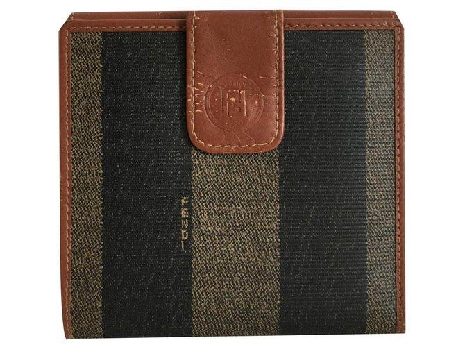 Fendi Fendi Pequin Stripe Wallet Wallets Small accessories Leather Light brown,Dark brown ref.131330