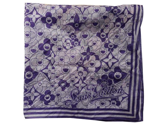 Carrés Louis Vuitton Cosmic Blossom Coton Violet ref.131440