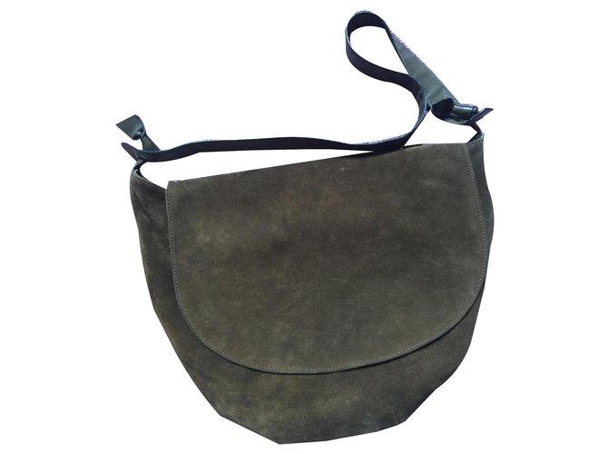 Bottega Veneta bottega half moon bag Handbags Suede Olive green ref.131481