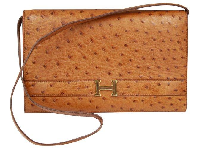 Hermès Annie Handbags Leather Brown ref.131533