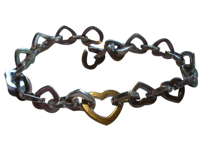 Heart link bracelet in sterling silver 925 and yellow gold 750/000 20 cm