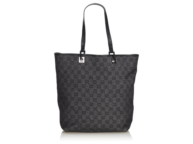 b3a27541f Gucci Gucci Gray GG Jacquard Tote Bag Totes Leather,Other,Cloth Black,Other