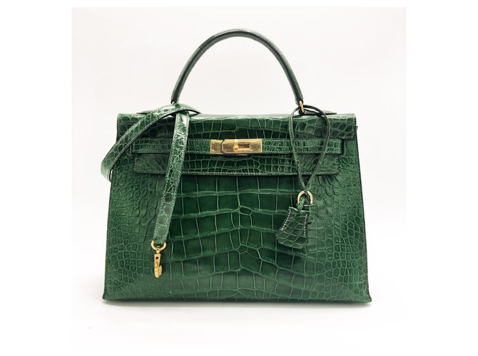 Hermès Beautiful Hermes Kelly bag 32 leather Emerald Green alligator Handbags Exotic leather Green ref.131663