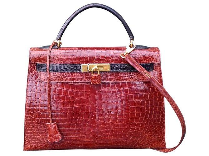Sacs à main Hermès Sac à main Hermès Kelly 32 Sellier Vintage Bicolore Etrusque et Noir crocodile Cuirs exotiques Marron clair ref.131814