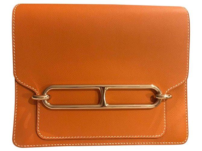 Hermès Roulis 23 Handbags Leather Bronze ref.131843