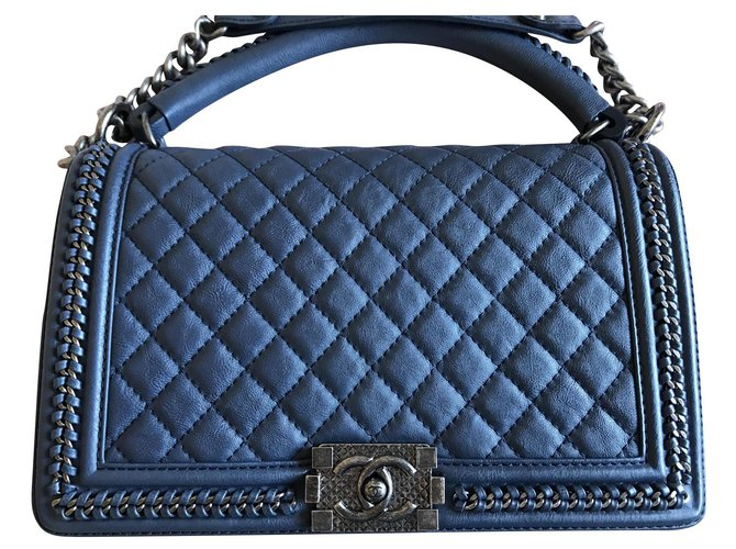 Chanel Chanel Boy with handle Handbags Leather Navy blue ref.131845