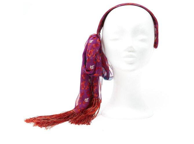 Bijoux de tête Dior PURPLE SILK HOBO Soie Rouge,Orange,Violet ref.131933
