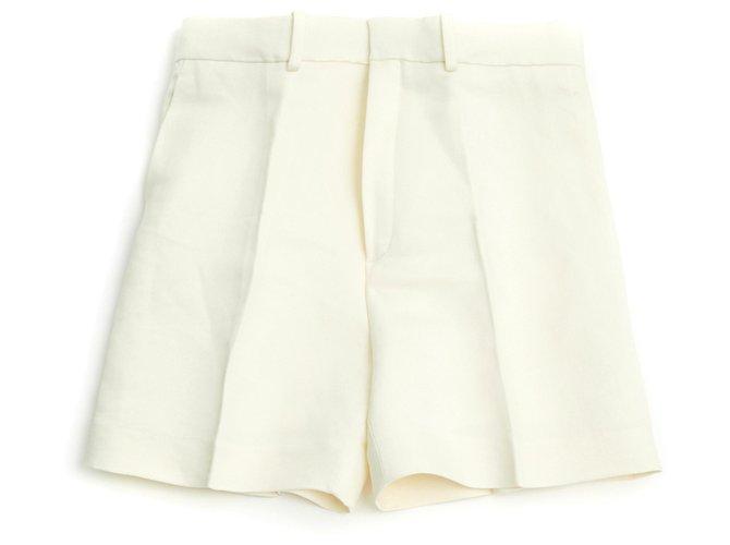 Chloé OFF WHITE LINEN SILK FR40 Shorts Silk,Linen Cream ref.132030