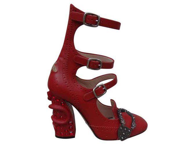 Gucci Heels Heels Leather Red ref
