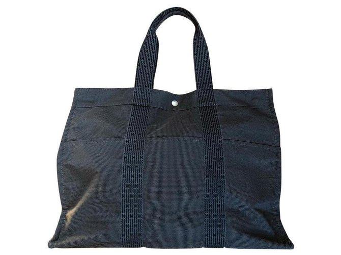 Hermès tote bag TOTO GM Handbags Cotton Dark grey ref.132433