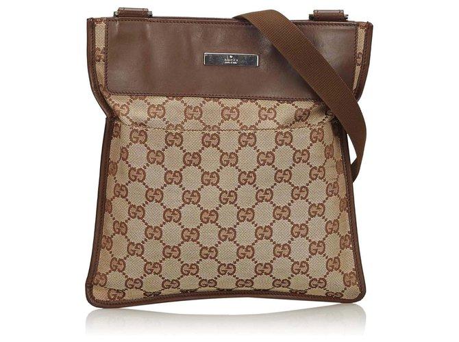 3a613350e Gucci Gucci Brown GG Canvas Crossbody Bag Handbags Leather,Other,Cloth,Cloth  Brown