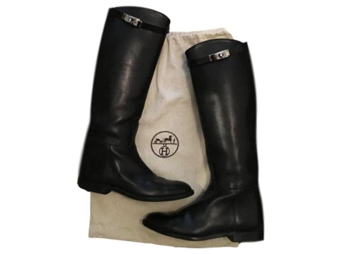 Hermès Boots Boots Leather Black ref.132845
